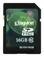 Карта памяти SecureDigital 16Gb Kingston SD10V/16GB SDHC Class 10
